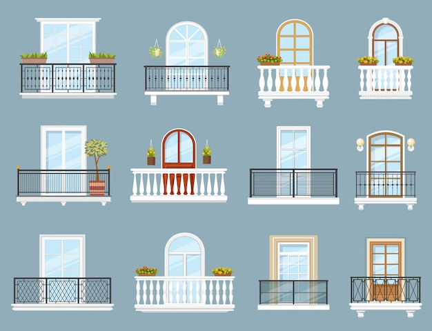 House and apartment building balconies