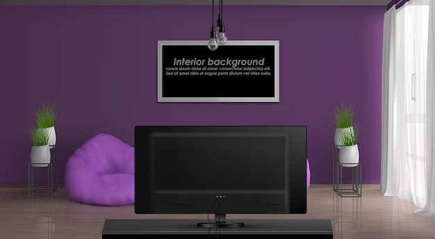 House or apartment cozy living room 3d realistic vector interior. painting or photo frame with sample text on purple wall, curtained window, bean bag chairs in front of tv set illustration