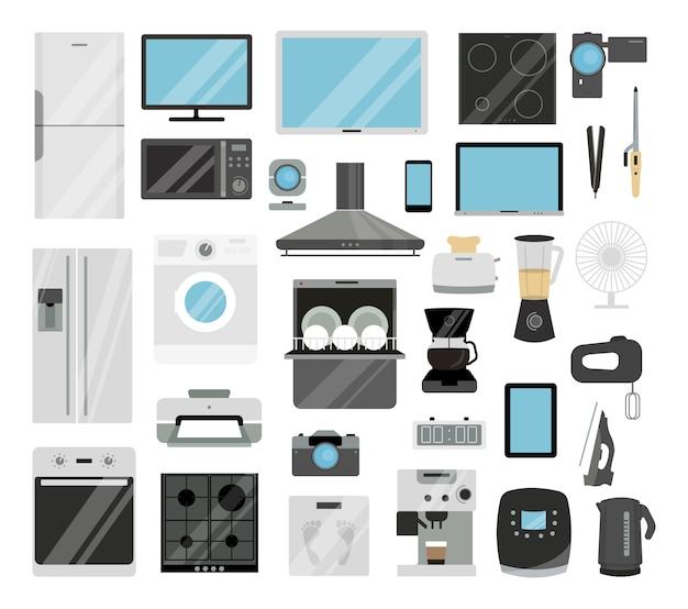 가전 제품 세트 냉장고 및 tv, 프린터 및 세탁기.