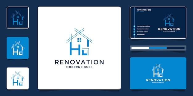 집 건축 로고 템플릿입니다. 비즈니스 카드로 리노베이션을위한 크리에이티브 부동산 기호.