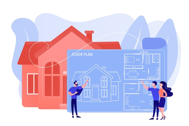План архитектуры дома с мебелью. дизайн интерьера. план этажа недвижимости, услуги плана этажа, концепция маркетинга недвижимости. розовый коралловый синий вектор изолированных иллюстрация