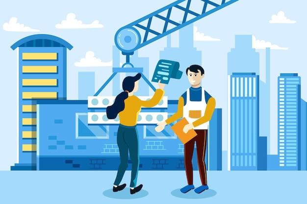 가구가있는 주택 건축 계획. 인테리어 디자인. 부동산 평면도, 평면도 서비스, 부동산 마케팅 개념.