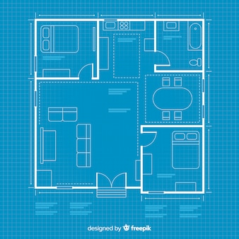 House arhitectural plan with blueprint
