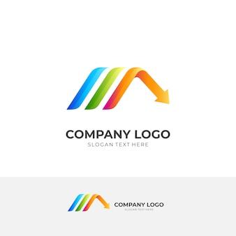 Логотип стрелки дома, дом и стрелка, комбинированный логотип с красочным 3d стилем