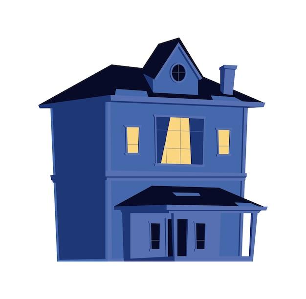 Дом ночью, здание с горящими окнами в темноте, карикатура
