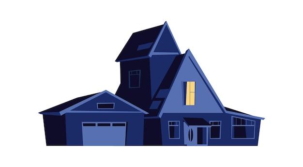 밤에 집, 어둠 속에서 빛나는 창문이있는 건물, 만화 일러스트