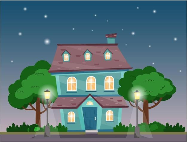 밤에 나무 덤불 가로등이 있는 집 여름 밤 별이 있는 별장