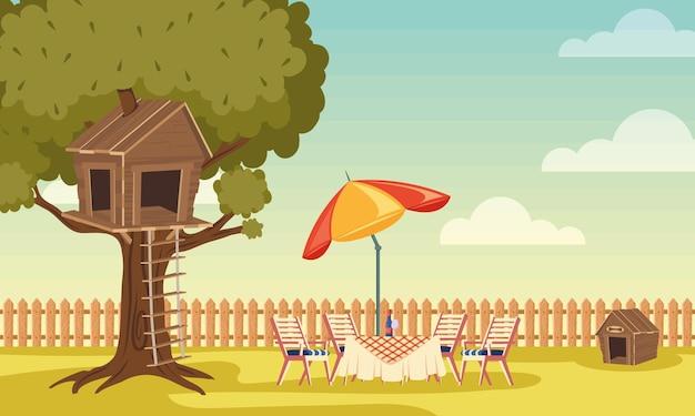 Задний двор дома с деревом и деревянной мебелью