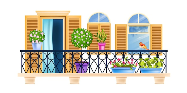 House balcony, old town facade window architecture illustration