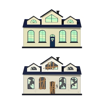 House before and after repair. cartoon style. illustration.