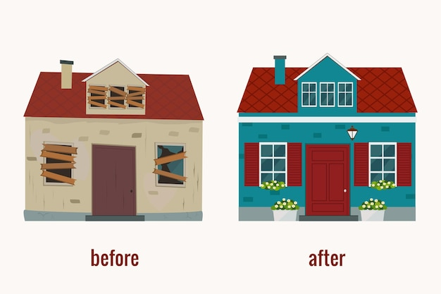 修理前後の家 フラット。