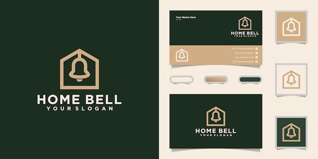 Домашний колокольчик логотип линии искусства и вдохновение визитная карточка