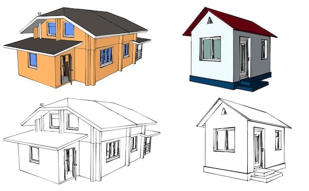 家の青写真のレイアウト。住宅建築建築。ベクトルイラスト。白い背景のイラスト。