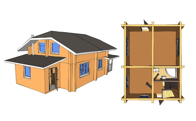 House blueprint layout. home building architecture. vector illustration. illustration on white background.