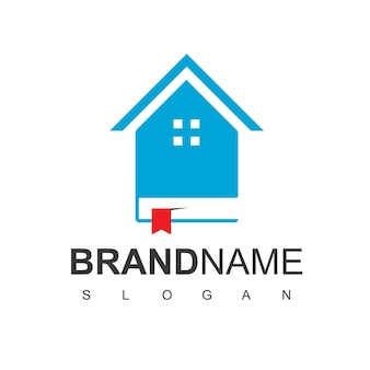 House and book for library logo
