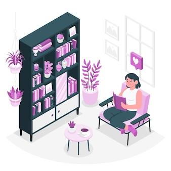 Illustrazione di concetto di scaffali per libri di casa