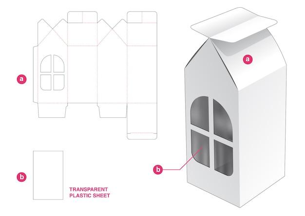 透明なプラスチックシートダイカットテンプレートと家の箱と窓