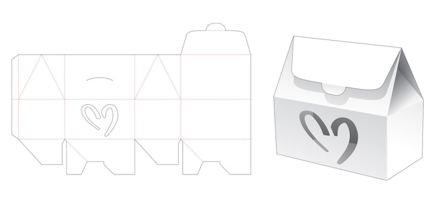 House box with heart shaped window die cut template