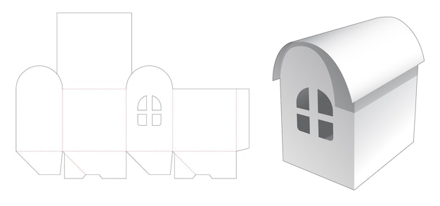 Коробка для дома с круглым флипом и вырезным шаблоном с окном