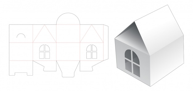 House box with window die cut template