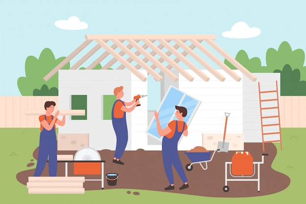 House building, architectural, construction process character   illustration.
