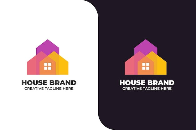 House building architecture gradient colorful logo