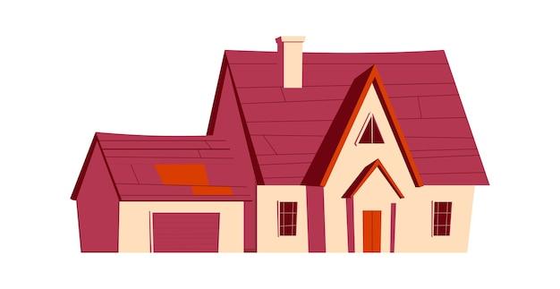 House building, cartoon illustration