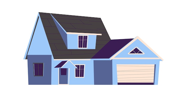 House building, cartoon illustration