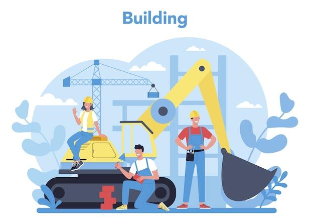 집 건물 개념입니다. 도구와 재료로 집을 짓는 근로자. 집을 짓는 과정. 도시 개발 개념. 격리 된 평면 벡터 일러스트 레이 션