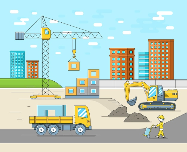House building construction in thin line flat style. place for new house.   illustration