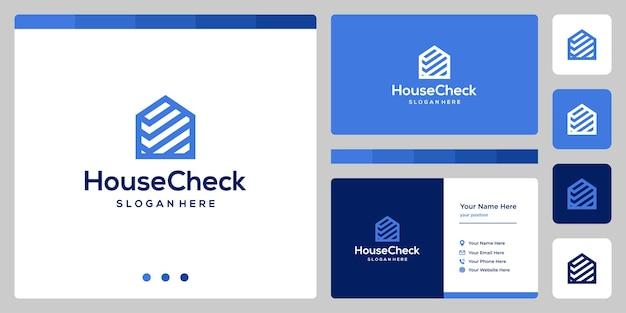 House building design logo with a check mark shape. business card design