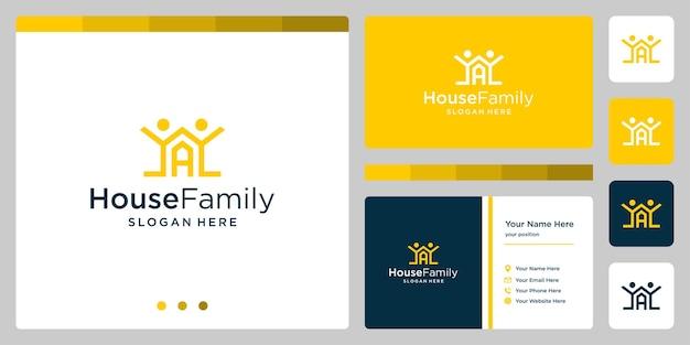 家族のロゴと頭文字aの家の建物のデザインのロゴ。名刺のデザイン