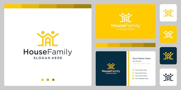House building design logo with family logo and initial letter a. business card design