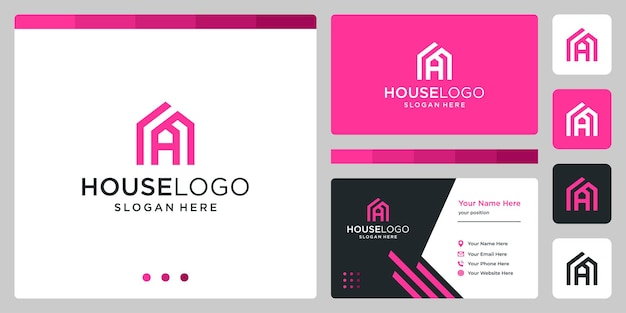 House building design logo with initials letter a. business card design