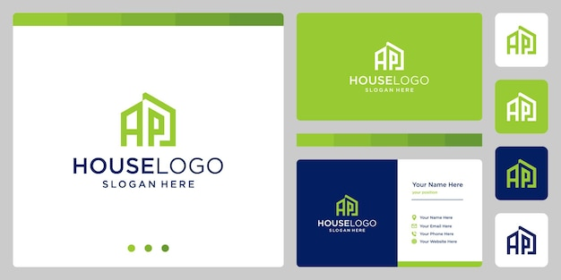 House building design logo with initials letter a and p. business card design