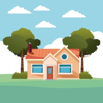 House building icon cartoon isolated