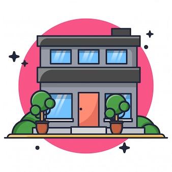家の建物のアイコンイラスト
