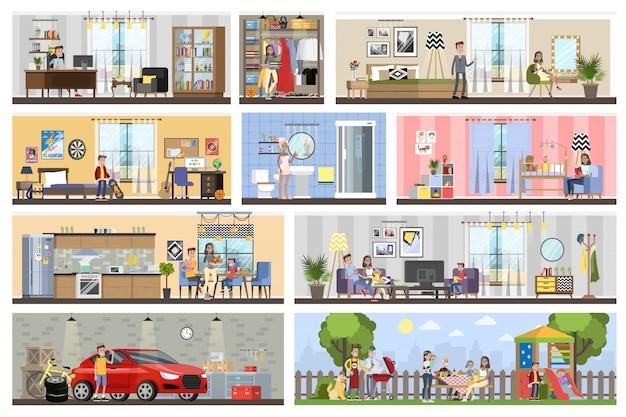 ガレージ付き住宅建築インテリアプラン。キッチンとバスルーム、ベッドルーム、リビングルームのある家。裏庭でバーベキュー。図