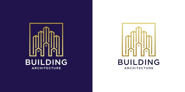 House building logo with luxury gold gradient color