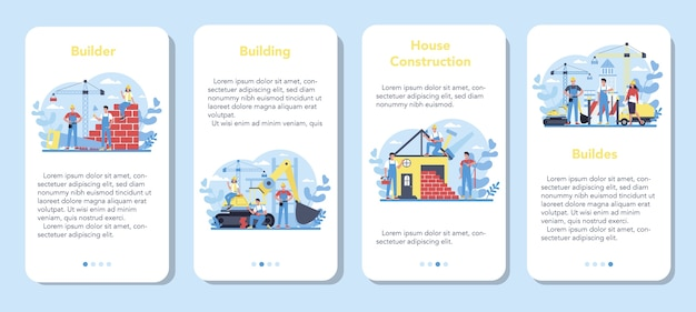 House building mobile application banner set. workers constructing home with tools and materials. process of house building. city development concept.