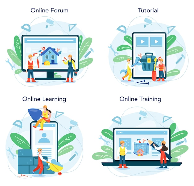 House building online service or platform set.