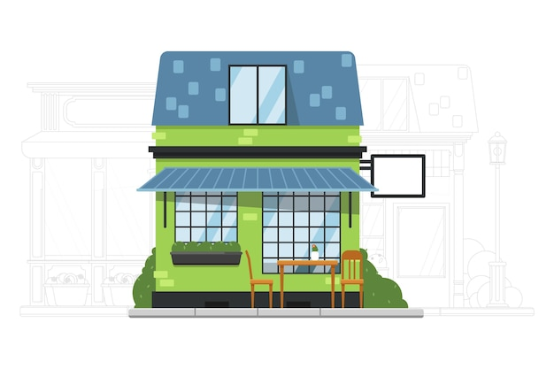 House building. small suburb house.  cafe or hostel residential apartment building exterior. adjacent street with mansion silhouette illustration