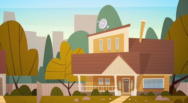 House building suburb of big city in summer, cottage real estate cute town concept