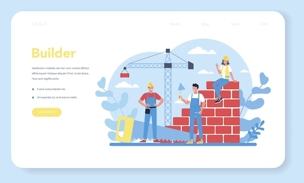 House building web landing page. workers constructing home with tools and materials. process of house building. city development concept. isolated flat vector illustration