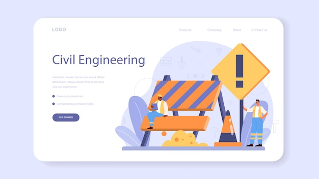 House building web template or landing page. workers constructing home with tools and materials. process of house building. city development concept.