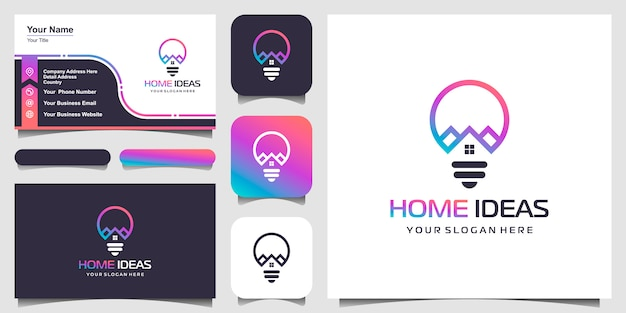 House and bulb lamp logo design combination with line art style. line logo with building icons and business card design