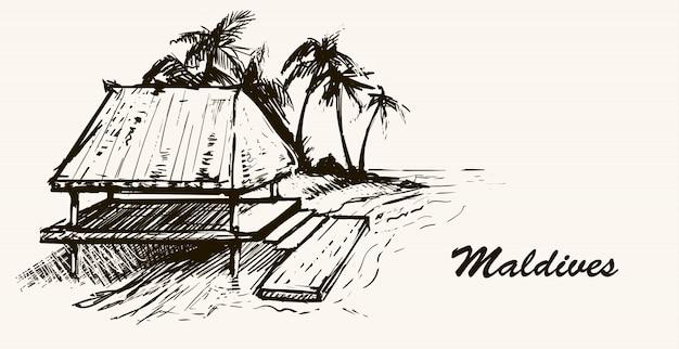 モルディブのビーチで海沿いの家。手描きのスケッチモルディブのイラスト。白い背景の上。