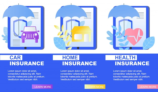 House car health insurance service banner umbrella and shield