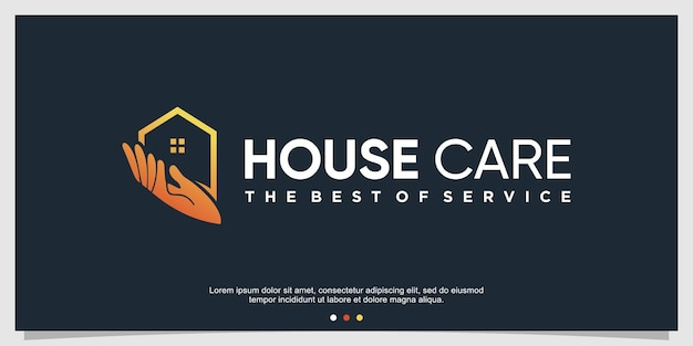 Шаблон логотипа для ухода за домом с креативной концепцией premium векторы