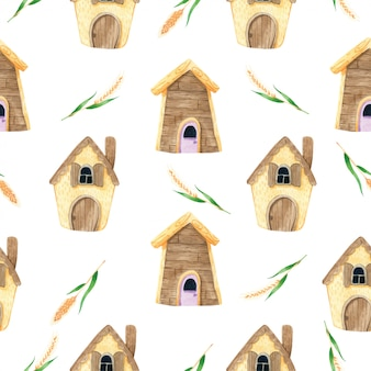 House cartoon cute with spike seamless pattern in watercolor